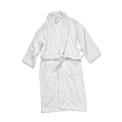 Salbakos Luxury 550 GSM Robe Plush Shawl Collar Terry Bathrobe Size: Large, Color: White