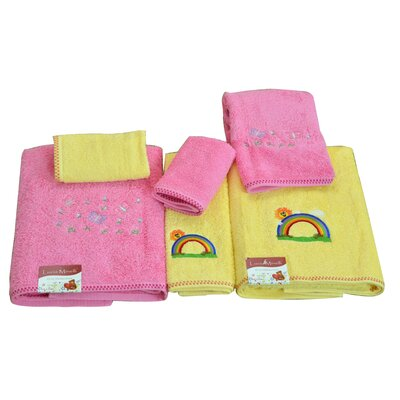 Lucia Minelli Kids Rainbow and Butterfly Embroidered 6 Piece Towel Set