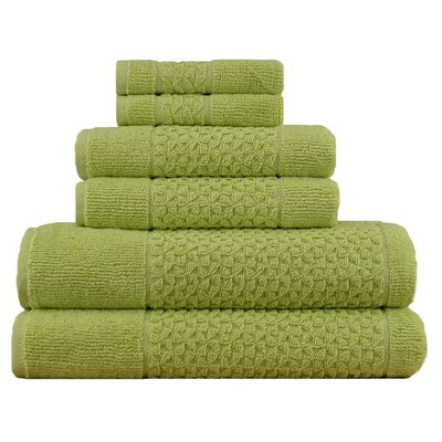Lucia Minelli Jacquard Mei Tal Classic 6 Piece Towel Set Color: Green