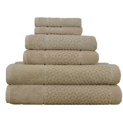 Treyton 6 Piece Towel Set Color: Beige
