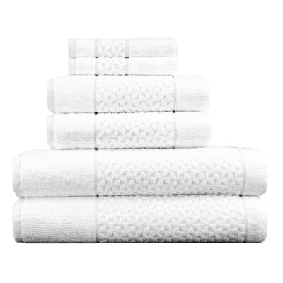 Lucia Minelli Jacquard Mei Tal Classic 6 Piece Towel Set Color: White