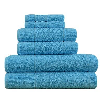 Lucia Minelli Jacquard Mei Tal Classic 6 Piece Towel Set Color: Aqua