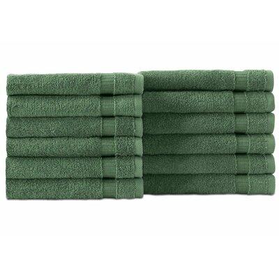 Cambridge Wash Cloth 12 Piece Towel Set Color: Green