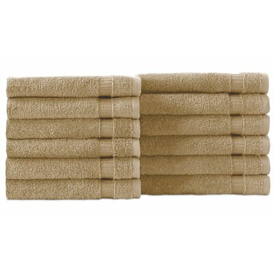 Cambridge Wash Cloth 12 Piece Towel Set Color: Taupe