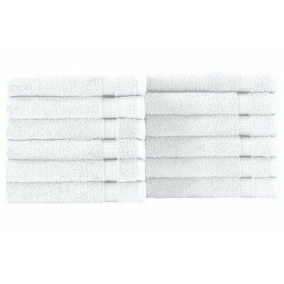 Cambridge Wash Cloth 12 Piece Towel Set Color: White
