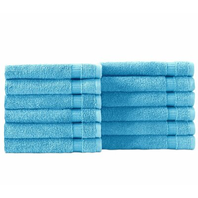 Cambridge Wash Cloth 12 Piece Towel Set Color: Aqua