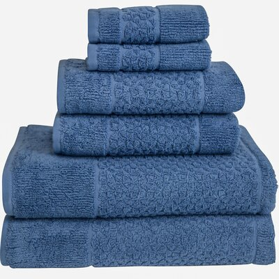 Lucia Minelli Jacquard Mei Tal Classic 6 Piece Towel Set Color: Cambridge Blue
