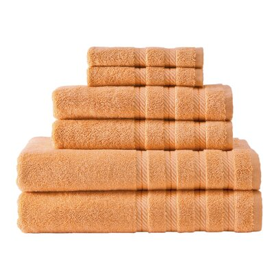 Antalya 6 Piece Towel Set Color: Peach