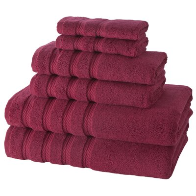 Antalya 6 Piece Towel Set Color: Bordeaux Red