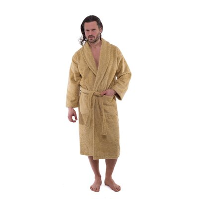 Salbakos Luxury 550 GSM Hotel & Spa Bathrobe Size: Medium, Color: Beige