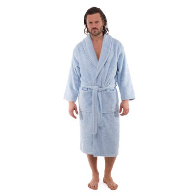 Salbakos Luxury 550 GSM Hotel & Spa Bathrobe Size: Medium, Color: Ice Blue