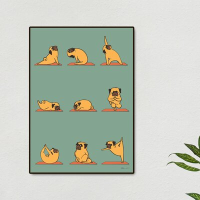 'Pug Yoga' Framed Graphic Art Print Size: 20