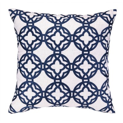 Cococozy Pacific Trellis Embroidered Throw Pillow Color: Navy