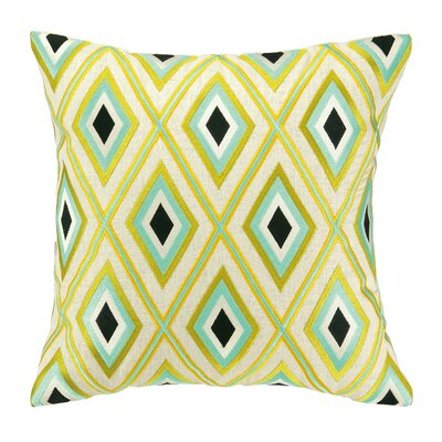 Iza Pearl Diamond Embroidered Throw Pillow Color: Turquoise