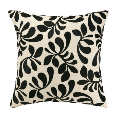 Iza Pearl Fancy Frond Embroidered Throw Pillow Color: Black