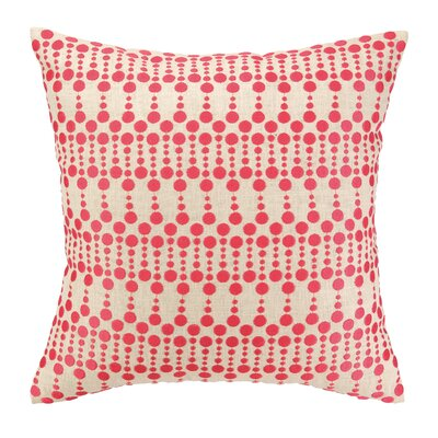 Iza Pearl Dottie Delight Embroidered Linen Throw Pillow Color: Pink