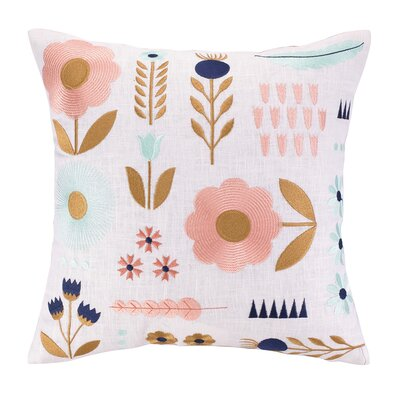 Garden Charm Embroidered Throw Pillow
