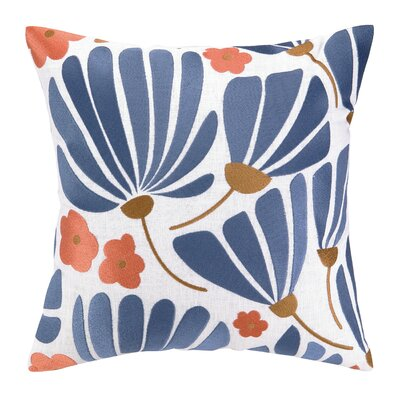 Breezy Floral Embroidered Throw Pillow