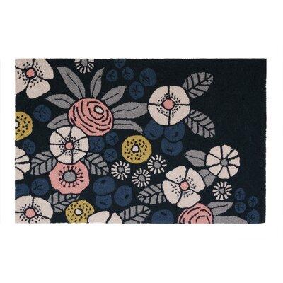 Floral Impressions Black/Blue Area Rug