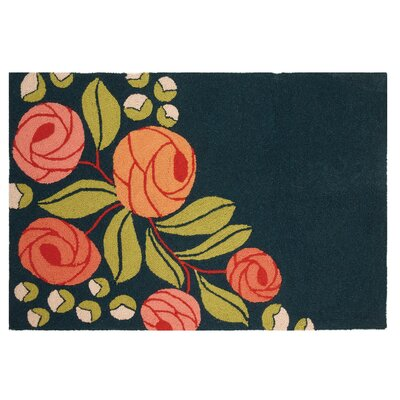 Roses Black/Green Area Rug