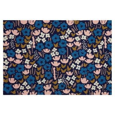 Volkonskaya Floral Hand Hooked Wool Blue Area Rug