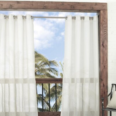 Summerland Sheer Key Solid Indoor/Outdoor Grommet/Eyelet Single Curtain Panel Color: Ivory