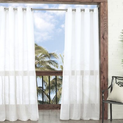 Summerland Sheer Key Solid Indoor/Outdoor Grommet/Eyelet Single Curtain Panel Color: White