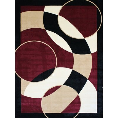 Modern Red Area Rug Rug Size: 5'2