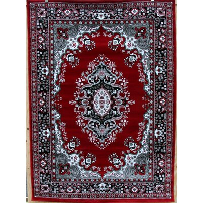 Oriental Isfahan Red/Gray Area Rug Rug Size: Rectangle 92 x 126