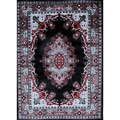 Oriental Isfahan Black Area Rug Rug Size: Rectangle 52 x 72