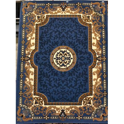 Oriental  Blue Area Rug Rug Size: Rectangle 52 x 72