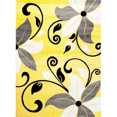 Salzer Yellow Area Rug Rug Size: Rectangle 52 x 72
