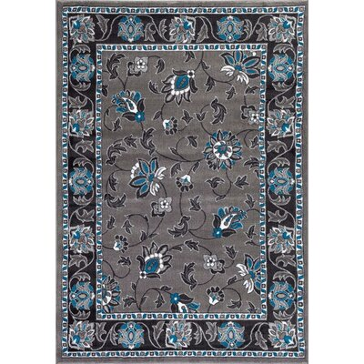Turquoise/Gray Area Rug Rug Size: Rectangle 52 x 72
