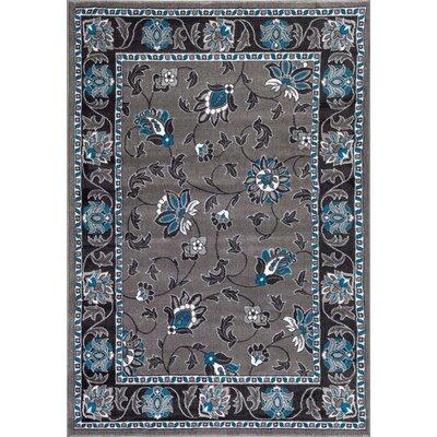 Turquoise/Gray Area Rug Rug Size: 52 x 72