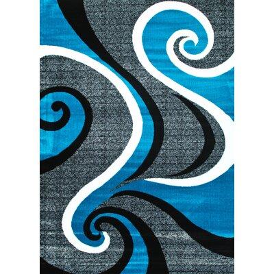 Abstract Swirl Turquoise Area Rug