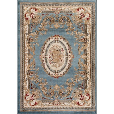 Traditional Blue Area Rug Rug Size: Rectangle 52 x 72