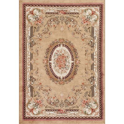 Traditional Beige Area Rug Rug Size: Rectangle 52 x 72