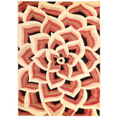 Modern Floral Orange/Cream Area Rug Rug Size: 39 x 49