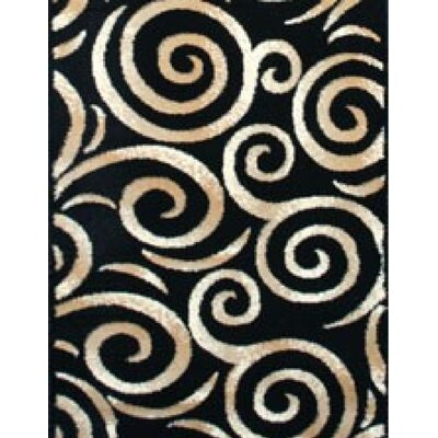 Swirl Oriental Black Area Rug Rug Size: Rectangle 710 x 106