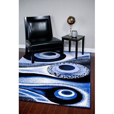 Abstract Blue Area Rug Rug Size: 710 x 106
