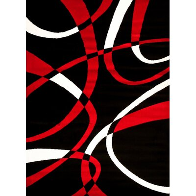 Modern Red Area Rug Rug Size: Rectangle 76 x 106