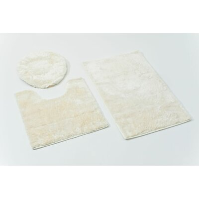 3 Piece Bath Rug Set Color: White