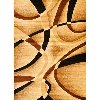 Modern Beige Area Rug Rug Size: Rectangle 52 x 72