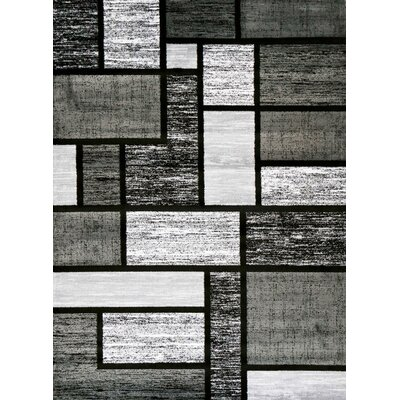 Avalon Black/Gray Area Rug Rug Size: 65 x 92