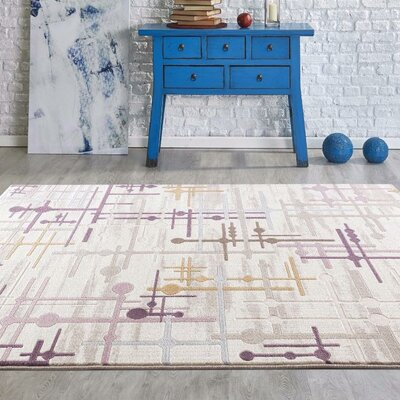 Taksim Beige/Purple Area Rug Rug Size: Rectangle 2 x 3