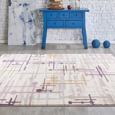 Taksim Beige/Purple Area Rug Rug Size: Rectangle 53 x 72
