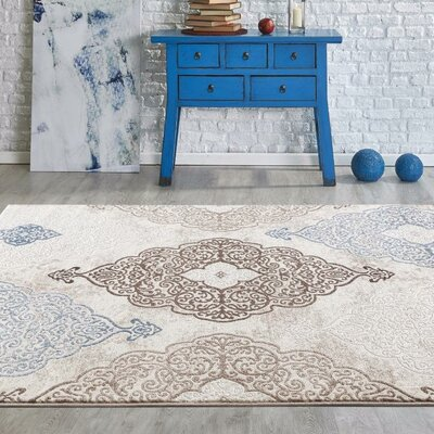 Taksim Blue/Beige Area Rug Rug Size: Rectangle 53 x 72