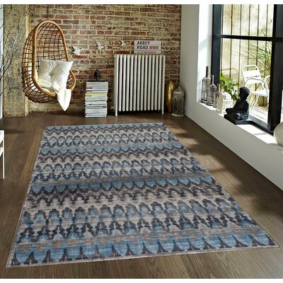 Tobis Blue/Beige Indoor/Outdoor Area Rug Rug Size: 2 x 3