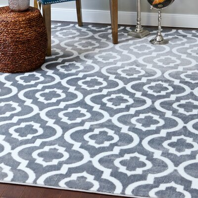 Stimpson Persian Gray Area Rug Rug Size: Rectangle 4 x 53