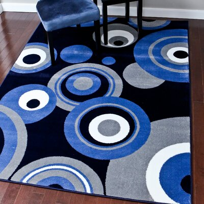 Modern Blue/Gray Area Rug Rug Size: 2 x 34
